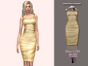 Sims 4 — Dress C240 by turksimmer — 10 Swatches Compatible with HQ mod Works with all of skins Custom Thumbnail New Mesh