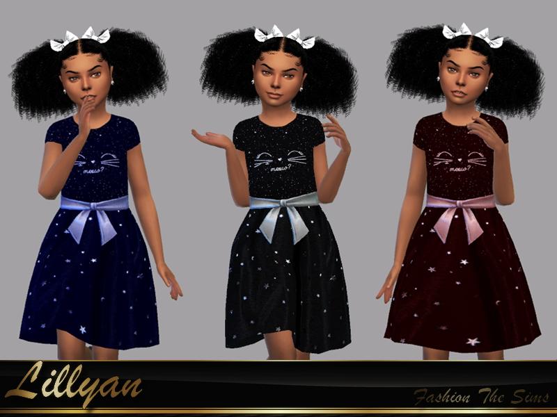Sims 4 — Dress Carollyni by LYLLYAN — Dress in 3 colors. Base game .
