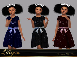 Sims 4 — Dress Carollyni by LYLLYAN — Dress in 3 colors. Base game .