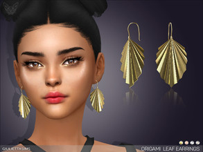 Sims 4 — Origami Leaf Earrings by feyona — * 5 swatches * Base game compatible, feminine style choice, disallowed for