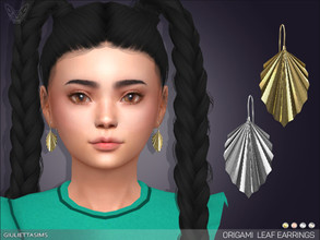 Sims 4 — Origami Leaf Earrings For Kids by feyona — * 5 swatches * Base game compatible, feminine style choice,