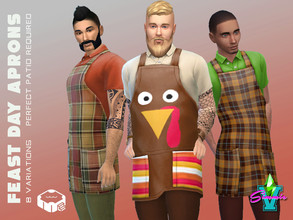 Sims 4 — SimmieV Feast Day Apron by SimmieV — This outfit features aprons designed with eight mostly plaid patterns in a