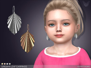 Sims 4 — Origami Leaf Earrings For Toddlers by feyona — * 4 swatches * Base game compatible, feminine style choice,