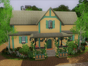Sims 3 — Empty Cottage no cc Riverview by sgK452 — House with possibility of 3 bedrooms, flowered and landscaped garden,