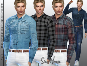 Sims 4 — Men's long sleeve tucked shirt by Sims_House — Men's long sleeve tucked shirt 10 color options