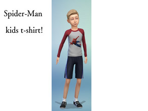 Sims 4 — Red Spider-Man kids shirt! by spiderman9980 — Red long sleeve shirt for kids with Spider-Man on the front and
