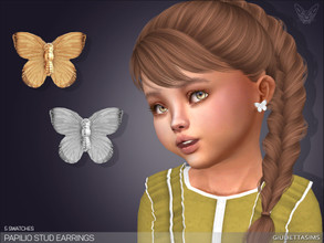 Sims 4 — Papilio Stud Earrings For Toddlers by feyona — * 5 swatches * Base game compatible, feminine style choice,