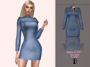 Sims 4 — Dress C241 by turksimmer — 6 Swatches Compatible with HQ mod Works with all of skins Custom Thumbnail New Mesh