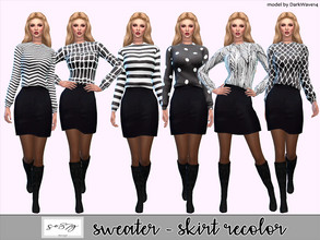 Sims 4 — Sweater-Skirt recolor so87g by so87g — Simple suit, in six recolors, compatible with base game. You can find it