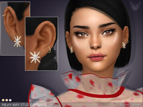 Sims 4 — Milky Way Stud Earrings by feyona — * 3 swatches * Base game compatible, feminine style choice, disallowed for