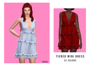 Sims 4 — Tiered Mini Dress by OranosTR — - New Mesh - HQ mode compatible - 32 Colors - Handmade Texture - Normal map