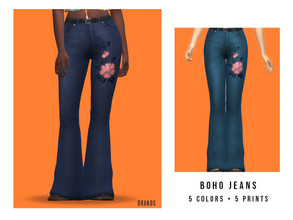 Sims 4 — Boho Jeans by OranosTR — - EA Mesh (Edited) - 5 Colors + 5 Prints - HQ mode compatible - Specular map included