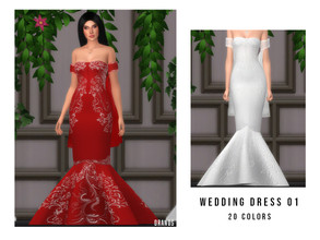 Sims 4 — Wedding Dress 01 by OranosTR — - New Mesh - HQ mode compatible - Specular and Normal map included - 20 Colors -