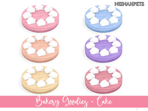 Sims 4 — Bakery Goodies - Cake by neinahpets — A whipped icing covered cake with dollops of white icing decorating the