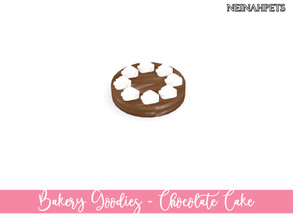 Sims 4 — Bakery Goodies - Chocolate Cake by neinahpets — A round cake with chocolate frosting and a circle of white