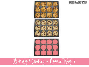 Sims 4 — Bakery Goodies - Cookie Tray II by neinahpets — 3 freshly baked tray of chocolate chip cookies, chocolate chunk