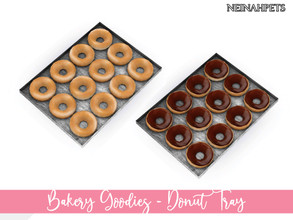 Sims 4 — Bakery Goodies - Donut Tray by neinahpets — A baking tray with delicious chocolate dipped donuts and a dozen