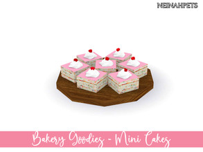 Sims 4 — Bakery Goodies - Mini Cakes by neinahpets — A wooden plate with a set of rainbow mini cakes with pink icing,
