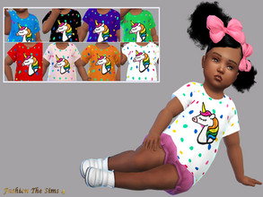 Sims 4 — T-shirt Malya baby by LYLLYAN — T-shirt in 8 colors . Base game .