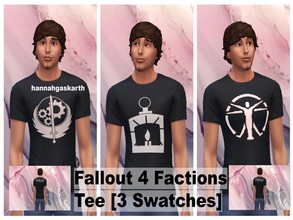 Sims 4 — Fallout 4 Factions Tee [Male] by hannahgaskarth2 — A basic black tee with 3 swatches of the different factions