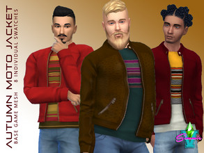 Sims 4 — SimmieV Autumn Spice Moto Jacket by SimmieV — A collection of leather moto jackets in 8 Autumn inspired designs