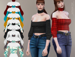 Sims 4 — Satrana top by sugar_owl — - new mesh - base game compatible - all LODs - 20 swatches - HQ compatible - female