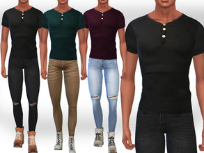 Sims 4 — Male Sims Fit Button Tees by saliwa — Male Sims Fit Button Tees 5 Colours Fit Casual Button Tshirts for Male