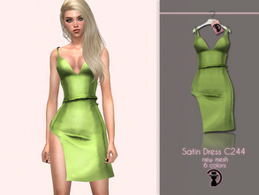 Sims 4 — Satin Dress C244 by turksimmer — 6 Swatches Compatible with HQ mod Works with all of skins Custom Thumbnail New