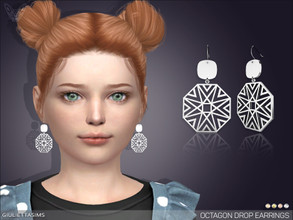 Sims 4 — Octagon Drop Earrings For Kids by feyona — * 4 swatches * Base game compatible, feminine style choice, available