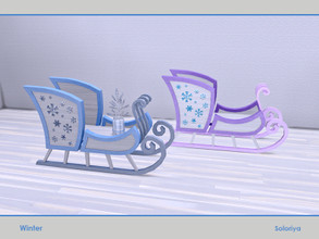 Sims 4 — Winter. Sledge Table by soloriya — Wooden sledge table with different slots for decorative items. Part of Winter