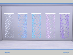 Sims 4 — Winter. Curtains with Snow Balls by soloriya — Curtains with snow balls. Part of Winter set. 5 color variatons.