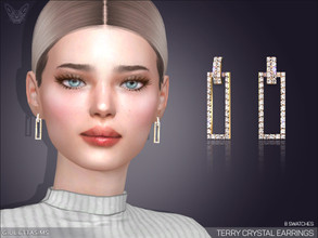 Sims 4 — Terry Crystal Earrings by feyona — * 8 swatches * Base game compatible, feminine style choice, disallowed for