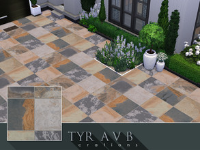 Sims 4 — Abbey Black Multi Stone Floor Tiles by TyrAVB — These beautiful luxury multicolored tiles that imitate natural
