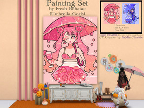 Sims 4 — Painting Set - Fresh Bobatae (Umbrella Gorls) Collection by itsmisscheekie — 2 Swatches Size 4x3 Tiles In Game