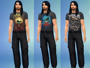 Sims 4 — Chelsea Grin Shirts by Lord_Vortranox — This is a collection of 5 Chelsea Grin merch shirts for males.