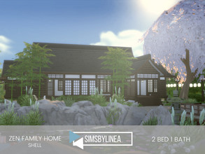 Sims 4 — Zen Family Home by SIMSBYLINEA — This laid-back Asian inspired family home boasts a gorgeous yard, with a large
