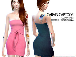 Sims 4 — CC.Midi Dress F by carvin_captoor — Created for sims4 Original Mesh All Lod 8 Swatches Don't Recolor And Claim