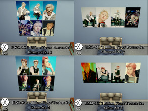 Sims 4 — EXO-SC '1 Billion Views' Posters Set - MESH & GET TO WORK by PhoenixTsukino — Set of posters featuring KPOP
