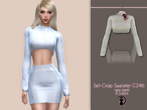 Sims 4 — Set-Crop Sweater C246 by turksimmer — 6 Swatches Compatible with HQ mod Works with all of skins Custom Thumbnail