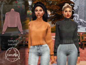 Sims 4 — Camuflaje - Catalina (Sweater) by Camuflaje — * New mesh * Compatible with the base game * HQ * All LODs (I