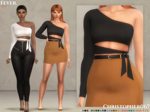Sims 4 — Fever Top / Christopher067 by christopher0672 — This is a cropped one sleeve tube top with a tied bottom detail.