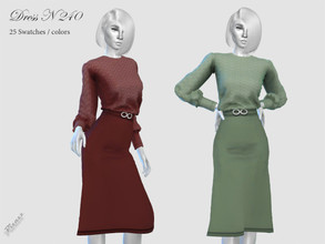 Sims 4 — DRESS N 240 by pizazz — NEW MESH included with download Base game 25 colors / swatches HQ - LODS - MAPS Hair