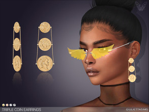 Sims 4 — Triple Coin Earrings by feyona — * 4 swatches * Base game compatible, feminine style choice, disallowed for
