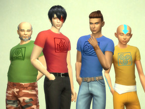 Sims 4 — Avatar the Last Airbender shirts for males. by Velouriah — Water, Earth, Fire, Air...Well you know the rest. I