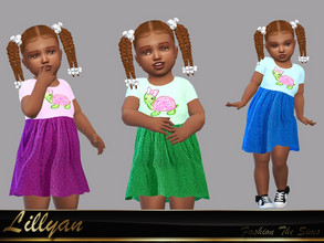 Sims 4 — Dress Melissa baby by LYLLYAN — Dress in 3 colors. Need the Toddler Stuff pack so it works in your game