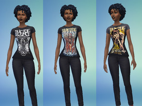 Sims 4 — Suicide Silence Women's Shirts by Lord_Vortranox — This is a collection of 6 Suicide Silence Shirts for females.