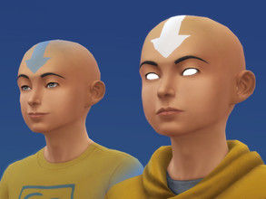 Sims 4 — Avatar Aang's Airbender tattoos and scars by Velouriah — This one has 4 textures, just the blue arrows, blue