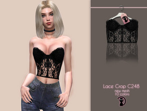 Sims 4 — Lace Crop C248 by turksimmer — 10 Swatches Compatible with HQ mod Works with all of skins Custom Thumbnail Teen