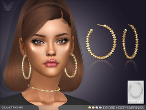 Sims 4 — Deidre Hoop Earrings by feyona — * 4 swatches * Base game compatible, feminine style choice, disallowed for