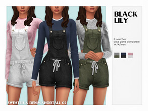 Sims 4 — Sweater & Denim Shortall 02 by Black_Lily — YA/A/Teen 3 Swatches New item Edited EA mesh by me